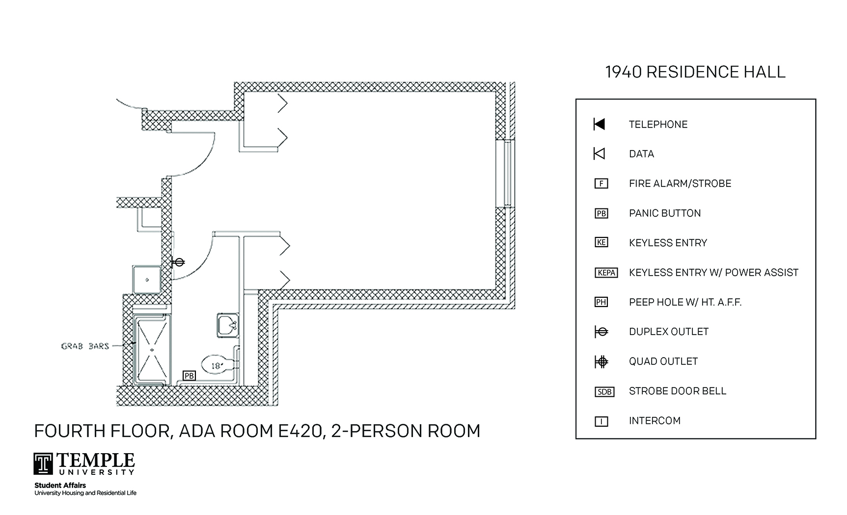 hight resolution of accessible room diagrams 2 person 1 bedroom suite e420 2 person 1 bedroom suite e420