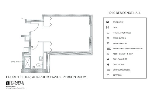 small resolution of accessible room diagrams 2 person 1 bedroom suite e420 2 person 1 bedroom suite e420