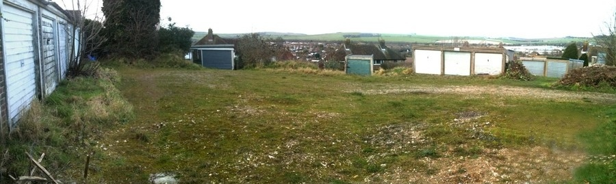 The Rotherfield Crescent site containing derelict garages for 4 council homes