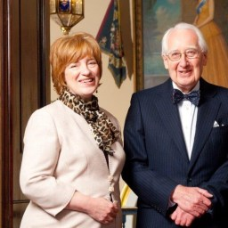 Riverside's former chief executive Deborah Shackleton with Professor John Tarn, who has passed away at the age of 85.