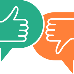 Two speech bubbles, one with a green thumbs up and another with an orange thumbs down.