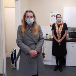 Two women at Riverside's new LGBTQ+ homeless service in Greater Manchester.