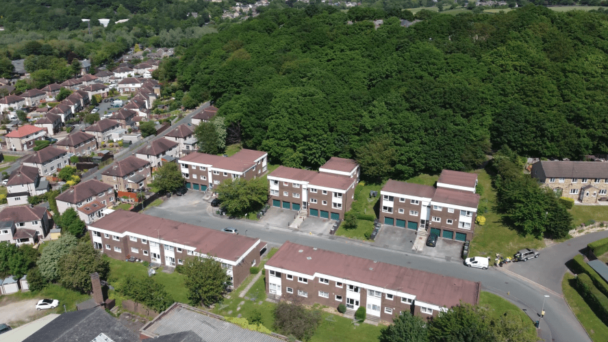 An aerial image of properties taken by a drone.