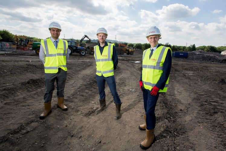 Cllr Rajbir Singh, leader of Sandewell Council, Stuart Penn, regional MD of Lovell, and Andy Street, mayor of the West Midlands on site at Fountain Lane.