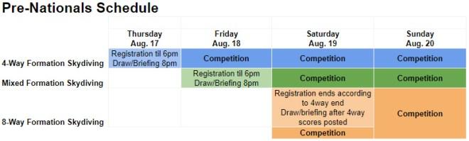 Pre-Nationals Schedule