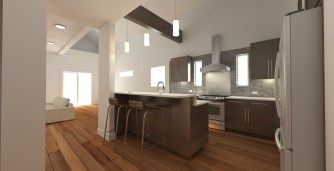 Kitchen and open floor plan living space with vaulted ceilings
