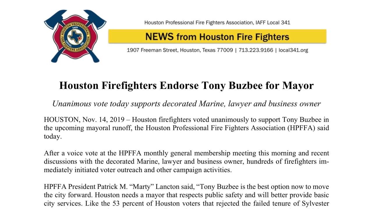 Tony Buzbee Houston Firefighters