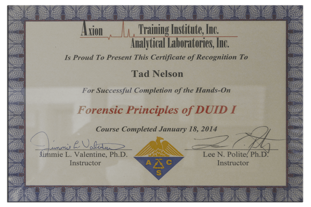 Tad Credentials 03 Forensic Principles of DUID