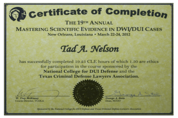 Tad Credentials - 13 - Mastering Scientific Evidence in DWI Cases