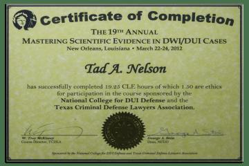 Tad Credentials - 13 - Mastering Scientific Evidence in DWI Cases