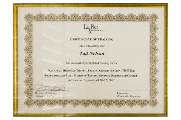Tad Credentials - 26 - NHTSA - Field Sobriety Refresher