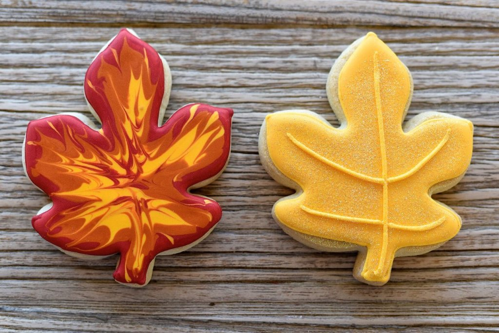 Picture of two leaf cookies.