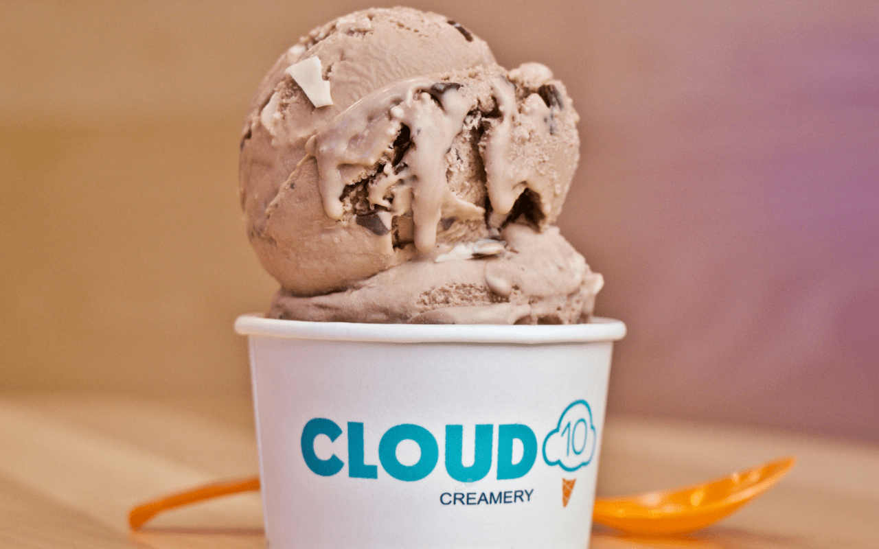 Milk chocolate ice cream at Cloud 10 Creamery