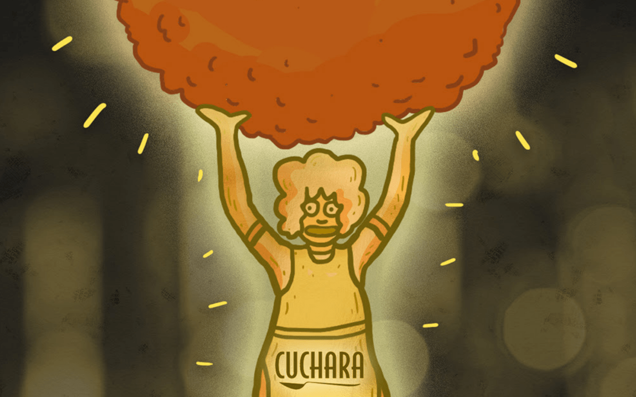 Drawing of woman in apron holding a large meatball over her head.