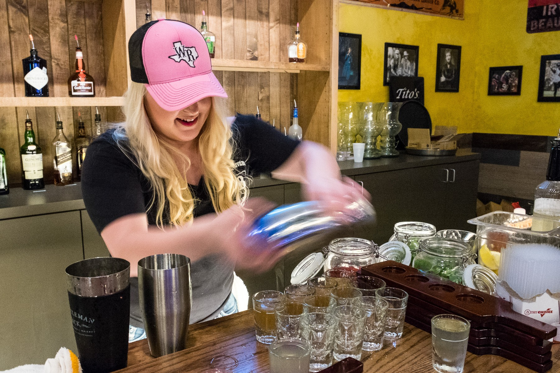 bartender shaking cocktails at Whiskey River Richmond
