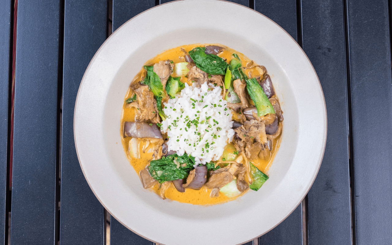 Bowl of coconut curry vegetables