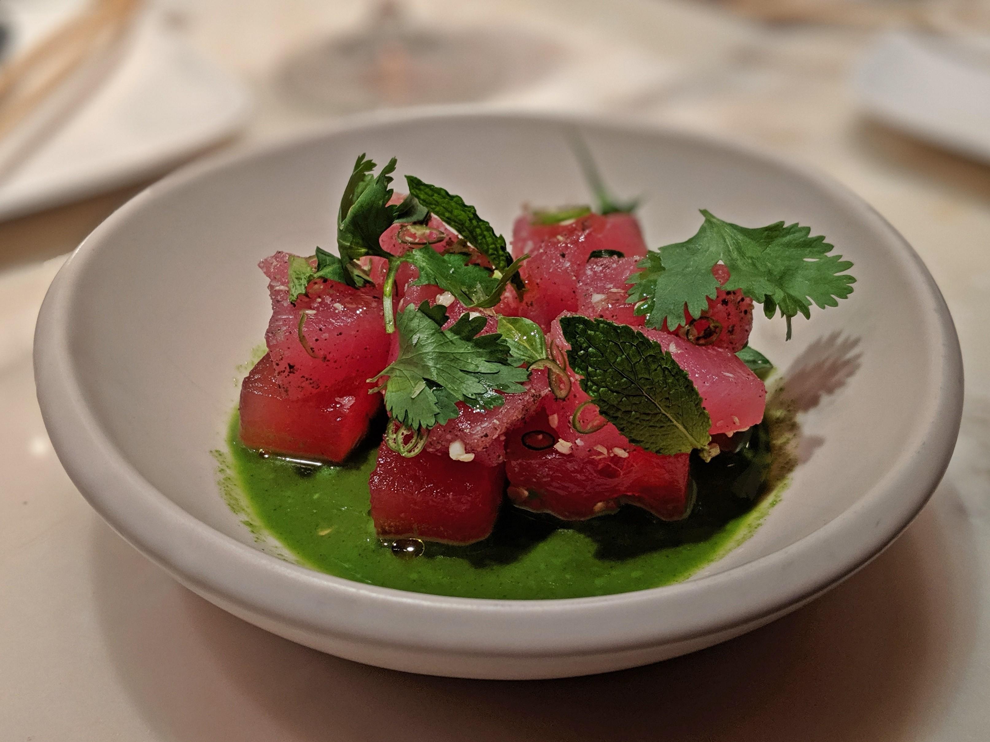 Bowl of tuna sashimi and watermelon