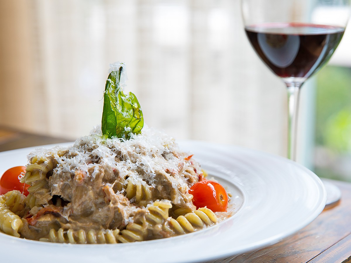 Fusilli with pork confit, mushroom sauce and Parmesan at Radio Milano