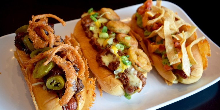 The trio of All-Star hot dogs at Bernie's Burger Bus