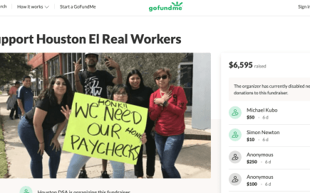 Screenshot of the GoFundMe campaign page to assist former El Real Tex-Mex employees