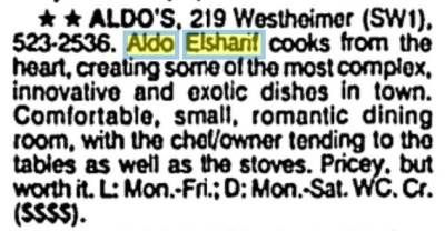 Aldo's description from the Houston Chronicle