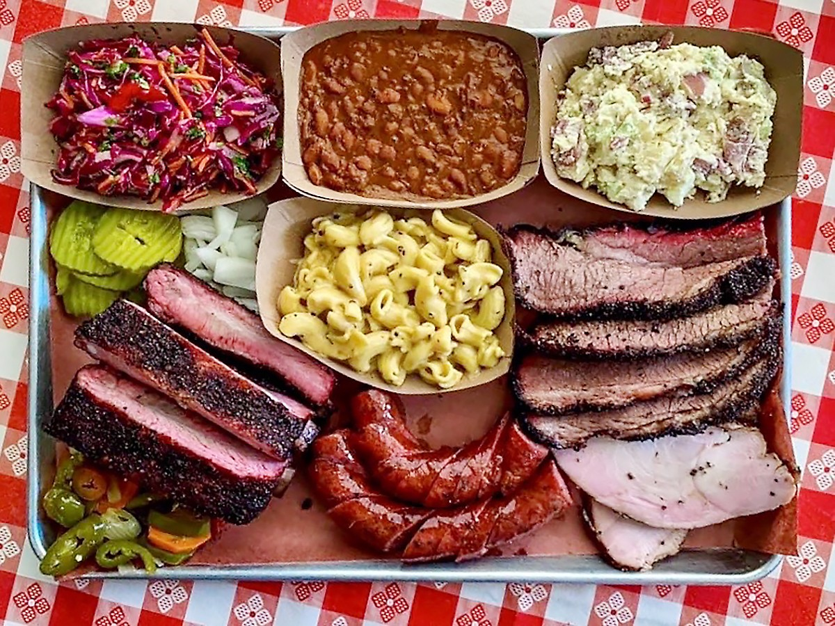 A selection of meats and sides at Brett's Barbecue Place