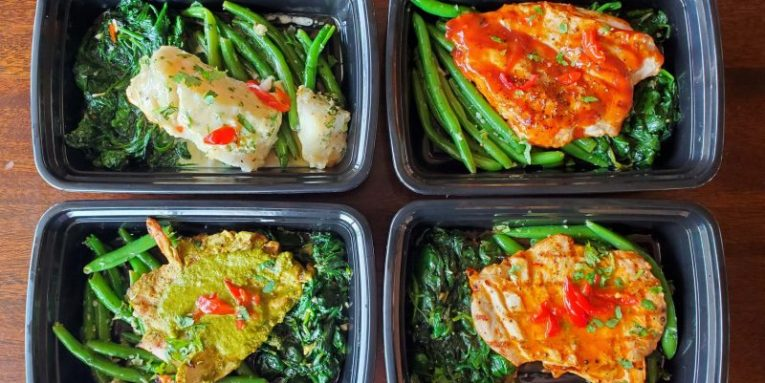 Four box meals with fish and chicken