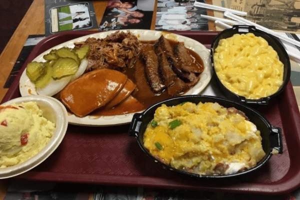 Plate of barbecue meat plus sides
