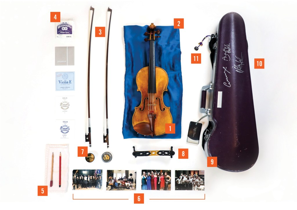 MuChen Hsieh violin case and contents.
