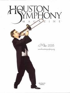 Man playing trombone on magazine cover.