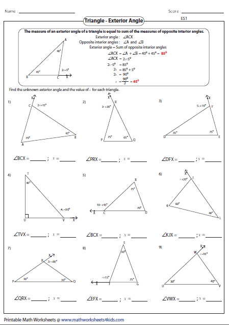 Triangle Sum And Exterior Angle Theorem Worksheet : triangle, exterior, angle, theorem, worksheet, Triangle, Angle, Worksheet, Answers, Resource, Plans