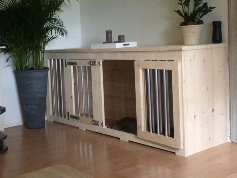 Honden bench 210 cm blank hout