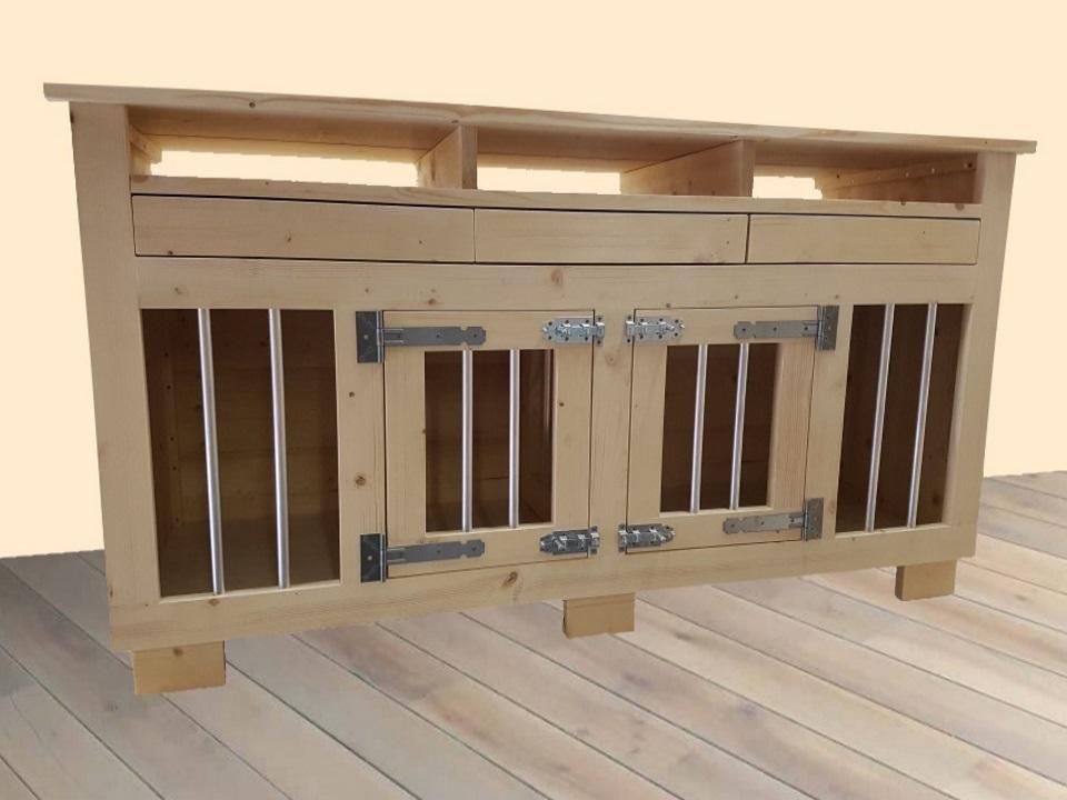 Hondenbench meubel met open vakken en laden