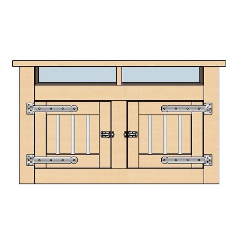 Houten bench TV meubel met 2 deuren en vakken
