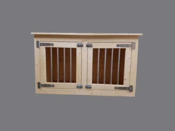 2 deurs Hondenbench in blank steigerhout