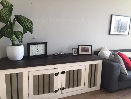 Houten Bench 2 deur met spijlen in creme wit met bruin blad