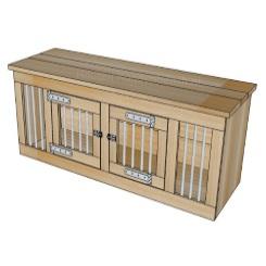 Houten Honden bench met 2 deuren 190 x 50 x 60 cm