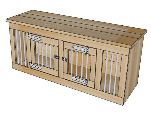 Houten Honden Bench 2 deurs met zij spijlen 190 x 50 x 60 cm