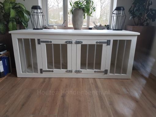 Houten Honden Bench met 2 deuren in de kleur wit
