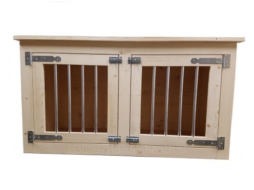 Honden Bench meubel in blank hout en 2 deuren met spijlen