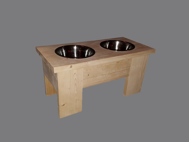 RVS Honden voer en drinkbakken in steigerhouten meubel
