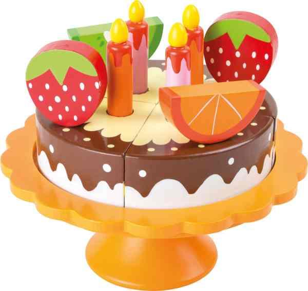 Houten speelgoed taart