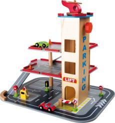 Houten speelgoed parkeertoren