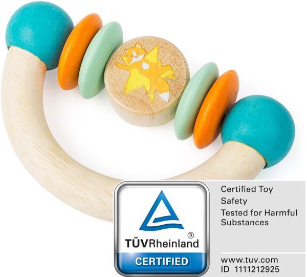 Houten speelgoed rammelaar vos