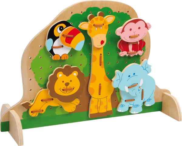 Houten speelbord met dieren