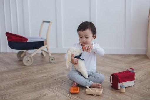 houten pop eetset eten