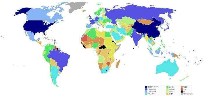 Viajar barato: Producto Interior Bruto por Países