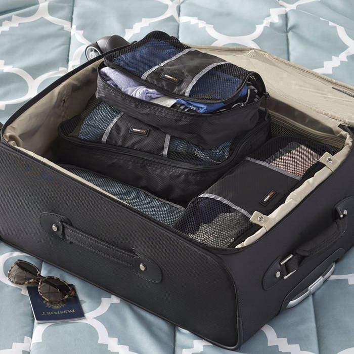 7e43e1785 AmazonBasics - Bolsas de equipaje (tamaño pequeño, mediano, grande y  alargado, 4