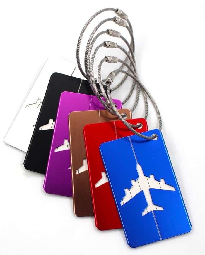 Etiquetas de equipaje de aleación de aluminio, 6 piezas