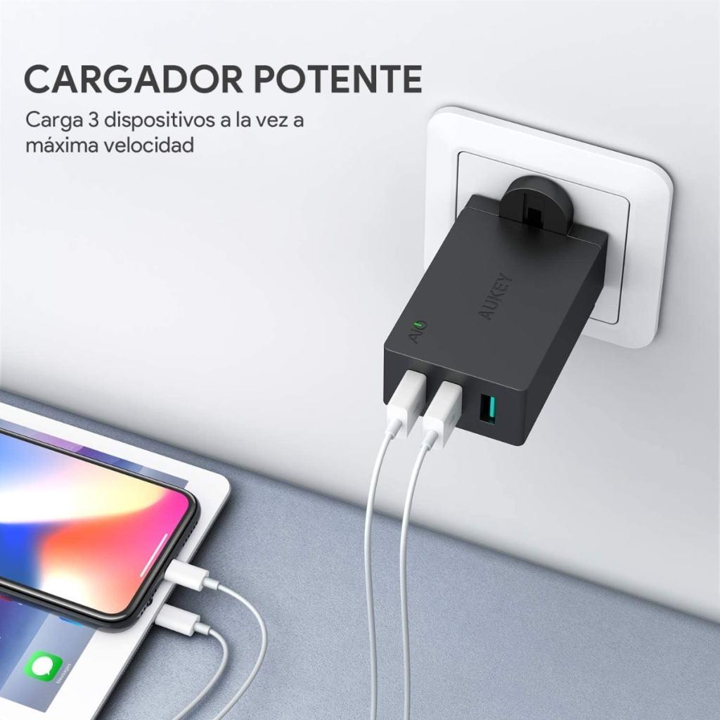 AUKEY Cargador USB con 3 puertos de 30W